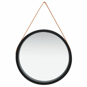 Wall Mirror with Strap 60 cm Black
