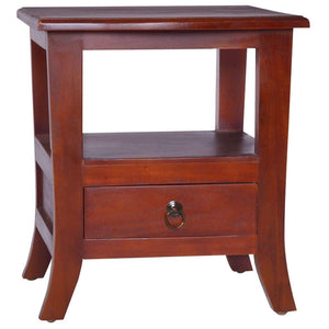 Bedside Cabinet Classical Brown Solid Mahogany Wood
