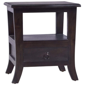 Bedside Cabinet Light Black Coffee Solid Mahogany Wood