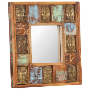 Mirror with Buddha Cladding 50x50 cm Solid Reclaimed Wood - sku 321813