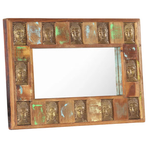 Mirror with Buddha Cladding 80x50 cm Solid Reclaimed Wood - sku 321814