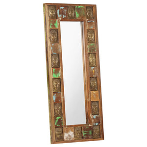 Mirror with Buddha Cladding 50x110 cm Solid Reclaimed Wood - sku 321817