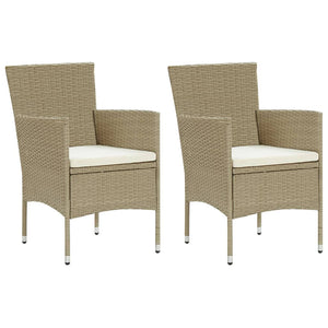 Garden Dining Chairs 2 pcs Poly Rattan Beige - sku 310553