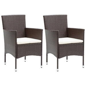 Garden Dining Chairs 2 pcs Poly Rattan Brown - sku 310554