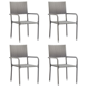 Outdoor Dining Chairs 4 pcs Poly Rattan Anthracite - sku 313121