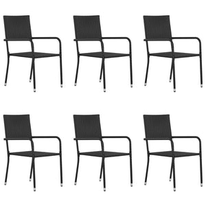 Outdoor Dining Chairs 6 pcs Poly Rattan Black - sku 313122