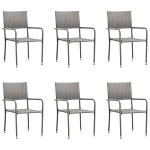 Outdoor Dining Chairs 6 pcs Poly Rattan Anthracite - sku 313123