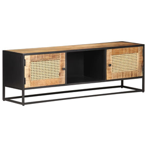 TV Cabinet 120x30x40 cm Rough Mango Wood and Natural Cane - sku 323142