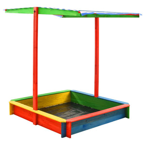 Sandbox with Adjustable Roof Fir Wood Multicolour UV50 - sku 313887