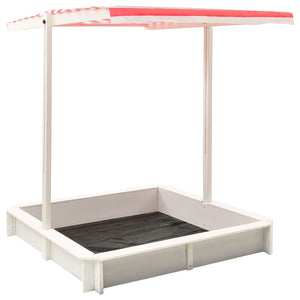 Sandbox with Adjustable Roof Fir Wood White and Red UV50 - sku 313888