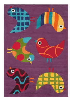 Arte Espina Cute Little Birds Rug Purple