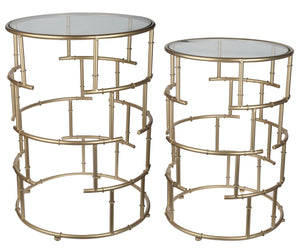 SET/2 GOLD GLASS TOP TABLES