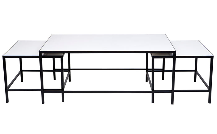 Cocktail Coffee Table - White 3pc