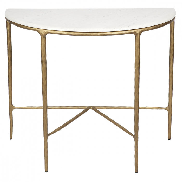 Heston Demilune Table - Brass