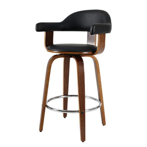 Artiss 2x Bar Stools Wooden Swivel Bar Stool Kitchen Dining Chair Wood Black