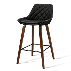 Artiss 2x Kitchen Bar Stools Wooden Stool Chairs Bentwood Barstool Leather Black