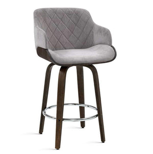 Artiss 1x Kitchen Bar Stools Wooden Bar Stool Chairs Swivel Velvet Fabric Grey