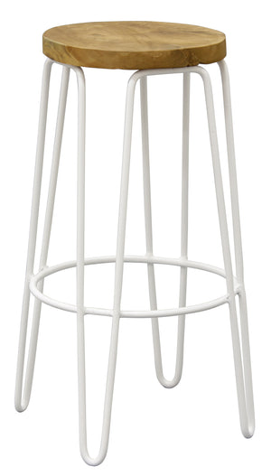 Round shape Iron Kitchen Bench Stool (White)