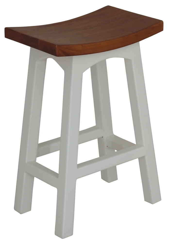 Wooden Kitchen Stool (White Caramel)