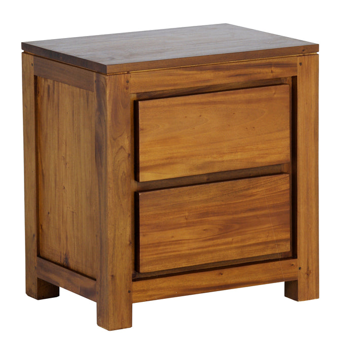 Amsterdam 2 Drawer Bedside (Light Pecan)