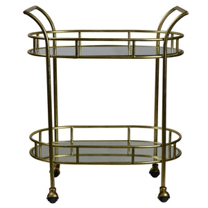 Balmoral Mirror Top Iron Bar Cart, Gold