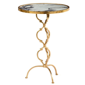 BRASS LOOK SWIRL BLACK MARBLE SIDE TABLE (SWIRL BRASS SIDE TABLE - BLACK)