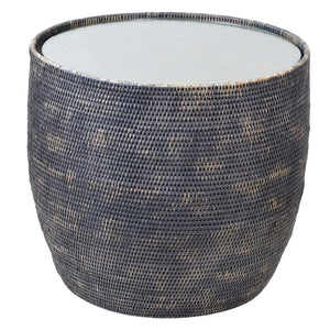 Bungalow Rattan Round Side Table with Glass