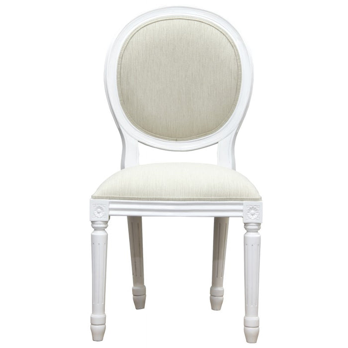 Round Queen Ann Dining Chair (White)