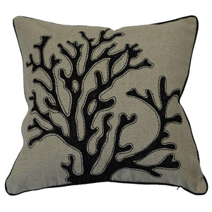 Coral Black Cushion Cover