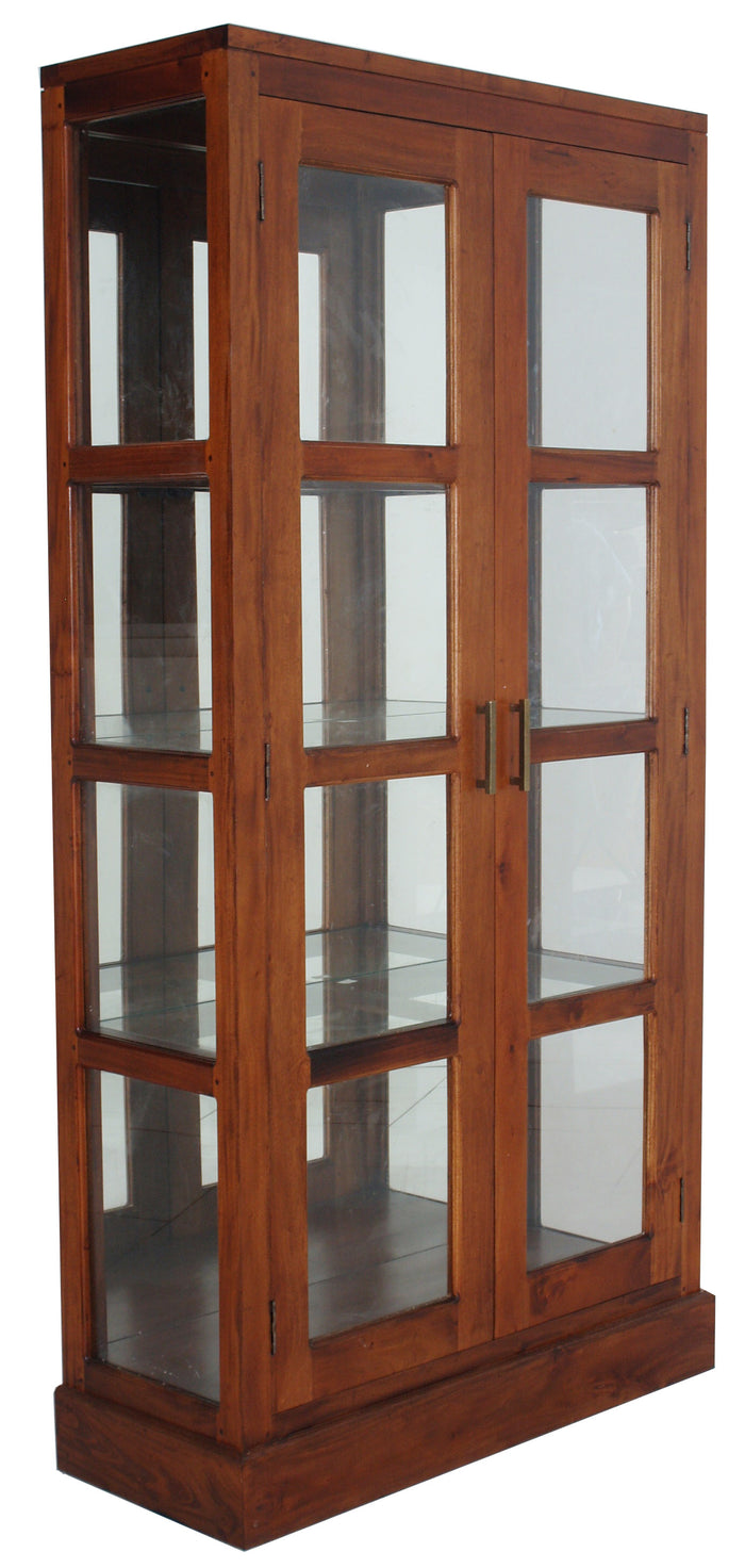 Paris Mirror Back Display Cabinet (Light Pecan)