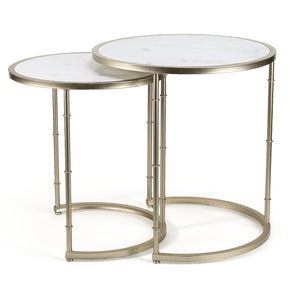 Set of Grace Marble Top Side Table