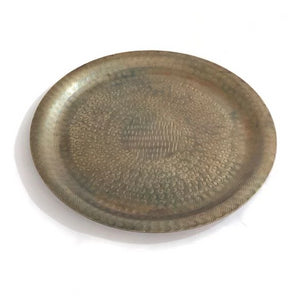 2x Penny Round Aluminium Trays, Antique Brass