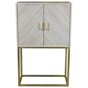 Eros Timber Cabinet with Iron Legs, Antique White