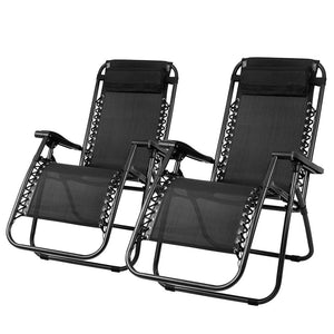 Gardeon Zero Gravity Chairs 2PC Reclining Outdoor Furniture Sun Lounge Folding Camping Lounger Black