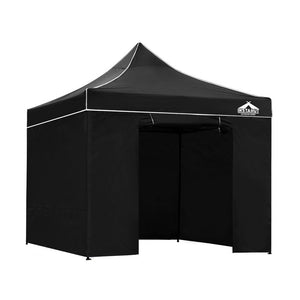Instahut Gazebo Pop Up Marquee 3x3m Folding Wedding Tent Gazebos Shade Black