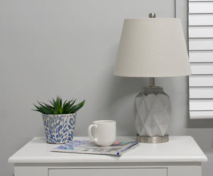 2x Jude Bedside Lamp, Grey and Silver