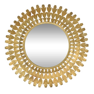 Louis Round Wall Mirror, Antique Brass