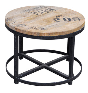 Mundo Round Timber and Iron Coffee Table