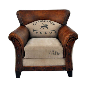 Hundo Canvas and Leather Lounge Chair