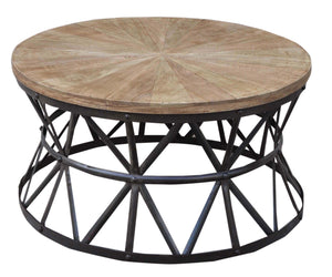Tom Timber and Iron Coffee Table, 92cm