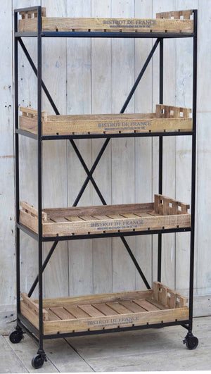 Francois Timber and Iron Industrial Bookshelf, 156cm