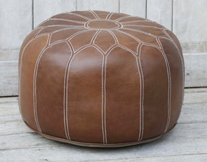 MORROCAN BROWN LEATHER OTTOMAN