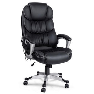 8 Point PU Leather Reclining Massage Chair - Black