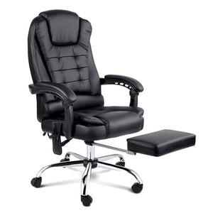 8 Point Reclining Message Chair - Black