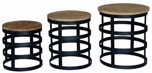 Set of 3 Round Nut Lamp Table