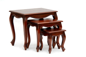 Queen Ann Nest of Table (Set of 3) (Mahogany)
