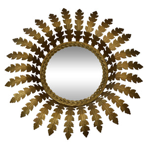 Napoleon Round Wall Mirror, Antique Brass
