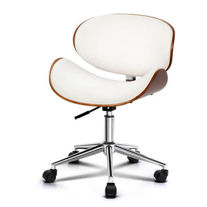 Artiss Wooden & PU Leather Office Desk Chair - White