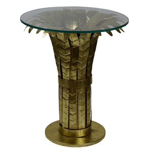 Palm Glass Top Metallic Side Table, Antique Gold