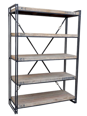 Penny Timber and Iron Industrial Bookcase, 183cm